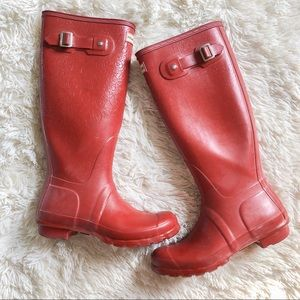 Cracked Red Hunter Boots